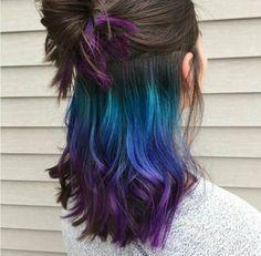 Cabelo colorido escondido, underneath colored hair