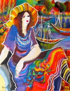 Patricia Govezensky LADY BY THE BAYSIDE Hand Signed Serigraph on Canvas #Impressionism