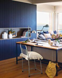 CASA TRÈS CHIC: O TRANQUILO AZUL Ideal Home, Furniture, Interior, Home Office, Tiny Apartment, Home Decor, Modern Office Space, House Interior, Home Interior Design