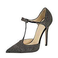 Mujer-Tacón Stiletto-D'Orsay y Dos Piezas-Sandalias-Vestido Fiesta y Noche-Semicuero-Negro