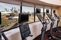 Keep your fitness routine with a view of the downtown Minneapolis skyline.