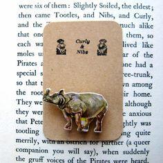 Rhino Wooden Badge. Vintage Jungle Jigsaw Lapel Pin £4.50
