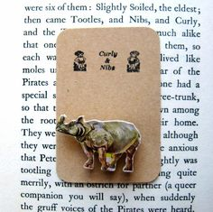 Rhino Wooden Badge. Vintage Jungle Jigsaw Lapel Pin £4.50