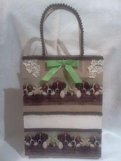 Handmade Brown Cream & Green Dog Gift Bag #AnnettesRoyalGiftWrapping #Dogs #GiftBags #DogLovers #AnyOccasion #Christmas #RecycledBags #DogsBirthday