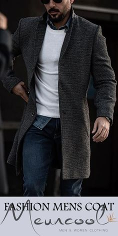 Casual Lapel Pure Color Overcoat - Men's style, accessories, mens fashion trends 2020 Casual Outfits, Fashion Outfits, Mens Fashion, Fashion Trends, Fashion Coat, Mode Masculine, Mode Man, Style Masculin, Casual Wear For Men