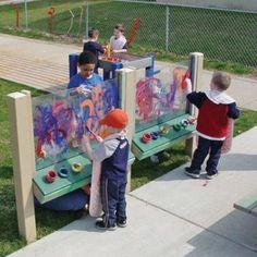 Outdoor painting idea | #summerfun Outdoor Learning Spaces, Outdoor Play Areas, Outdoor Art, Outdoor Painting, Outdoor Games, Natural Playground, Outdoor Playground, Playground Ideas, Outdoor School