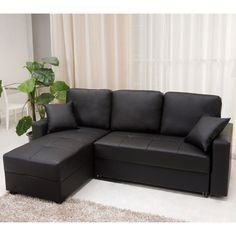 Aspen Black Convertible Sectional Storage Sofa Bed | Overstock™ Shopping - Big Discounts on Sectional Sofas