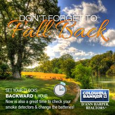 FALL BACK! Don't forget to set your clocks backward 1 hour Sunday November 6th. Now is also a great time to check your smoke detectors & change the batteries! #FallBack2016