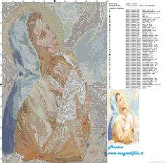 Virgin Mary and Baby Jesus cross stitch pattern