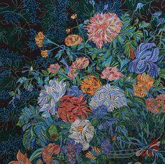 "Kytica ~ artist Erika Pochybova-Johnson, c.2011; acrylic, 45"" x 45"".  Not for sale.  #art #painting #contemporary #floral"