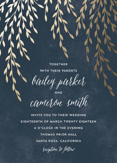 """Foil Foliage"" - Rustic, Modern Foil-pressed Wedding Invitations in Midnight Blue by Anupama."