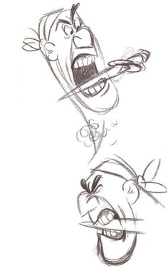 ✶ Two expressions of one of Hooks pirates. [from the first drawing done by Frank Thomas in the development of the characters for Peter Pan] ✏️☠⚓️★