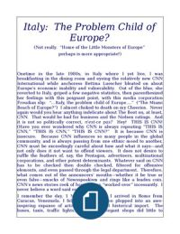 Italy:  The Problem Child of Europe?