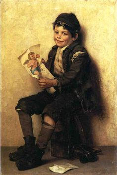 """Paddy's Valentine"" (1885), by English-born American artist - John George Brown (1883-1913), Oil on canvas, 60.96 x 40.64 cm. (24 x 16 in.), Private collection."