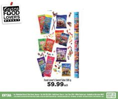 At Food Lover's Market Knysna, we love good value, such as Food Lover's Sweet tube 500g only R59.99 each. Hurry down today! Valid until 7 December 2014. While stocks last. E&OE #WeLoveValue #Foodloversmarket #knysna