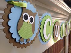 Owl BABY SHOWER Banner or Birthday Personalized NAME Blue & Green Boy