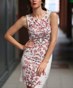Look at this #zulilyfind! Pink Cherry Blossom Sleeveless Sheath Dress #zulilyfinds