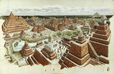 An artist's rendering shows the ancient Maya trading city of El Mirador rising from the dense Guatemalan jungle, about 225 miles (360 kilometers) north of modern-day Guatemala City. Unless you have a helicopter, it's a 5 day mule trip to get there.