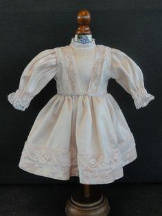"BLEUETTE Doll dress- For 11-12"" antique vintage or Artist doll. Made in FRANCE"