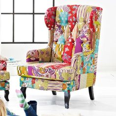 "Sessel ""Happy"" in Patchwork-Optik"
