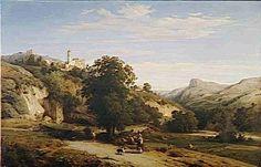 Léon Fleury  vue du  village de Cagnes