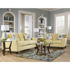 Gray and Yellow Living Room...