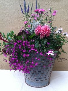 Summertime, is like putting on make-up for pots. Have fun with them & experiment! Muddy Boots Garden Design - Four Seasons Container Gardening - 2012 North Carolina Master Gardener's Conference. Container Flowers, Flower Planters, Container Plants, Container Gardening, Flower Pots, Gardening Vegetables, Summer Flowers, Beautiful Flowers, Purple Flowers