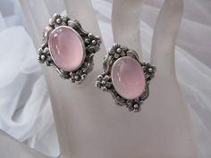 Carol Felley Pink Rose Quartz Flower Sterling Silver Earrings 1989 #CarolFelley #Stud