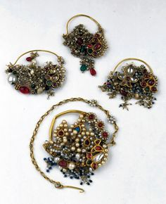 India ~ Maharashtra or Gujarat | Nose rings; gold, pearls, semi-precious stones and glass | 19th century | Susan L. Beningson Collection