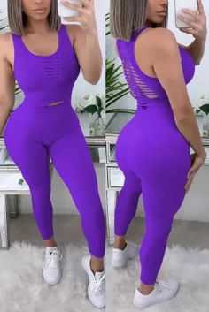 Curvy Girl Fashion, Style Fashion, Fall Winter Outfits, Sexy Body, Stylish Outfits, Sleeve Styles, Trousers, Vest, Purple