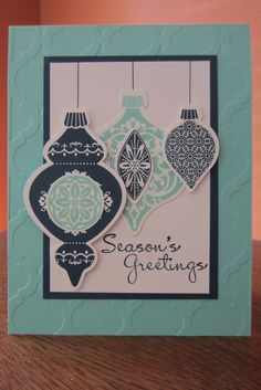 Christmas card using Stampin' Up Ornament Keepsakes