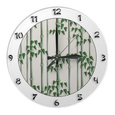 Japanese style elegant wall clock from Zazzle, $24.95. Green bamboo pattern in the inner circle and full set  of numbers on the outer rim - by YANKAdesigns.