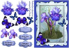 This very pretty 3D decoupage card front is so easy to make, and can be used for many different reasons.  The sheet has 3 labels as well as a blank for your own words, that say.  For someone so special. Just for You. and Enjoy Your special Day.  The sheet also comes in 4 different colours to suit your preference. has beautiful irises and matching butterflies. Enjoy.