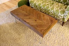 Chevron Reclaimed Wood Coffee Table on Hairpin Legs - Made to Order by theWobblyKnob on Etsy https://www.etsy.com/listing/112975958/chevron-reclaimed-wood-coffee-table-on