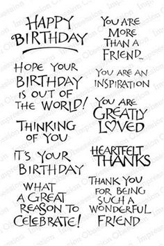 Happy Birthday Quotes : QUOTATION – Image : As the quote says – Description Rubber Stamps, Paper and Card Crafting Supplies Shipped Worldwide – – Addicted To Rubber Stamps Birthday Verses For Cards, Birthday Card Sayings, Birthday Sentiments, Happy Birthday Quotes, Funny Birthday Cards, Birthday Greetings, Birthday Wishes, Birthday Card Messages, Birthday Msgs