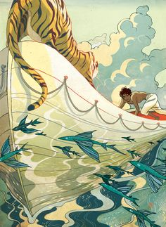 "A beautiful illustration by Victo Ngai for a stunning film ""Life of Pi"""