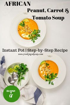 African peanut, carrot and tomato soup is hearty and an easy recipe for a filling and nutritious meal. A comforting soup, that is wholesome and enriched with deep flavours which you won't get of tired anytime soon. Lunch Recipes, Soup Recipes, Breakfast Recipes, Vegetarian Recipes, Dinner Recipes, Healthy Recipes, Vegetarian Platter, Good Food, Yummy Food