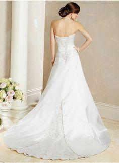 Latest Wedding Dresses | Discount Wedding Dresses | A-line Sweetheart Lace Applique Empire Floor-length Sweep-train Chapel train Wedding Dresses WE1815