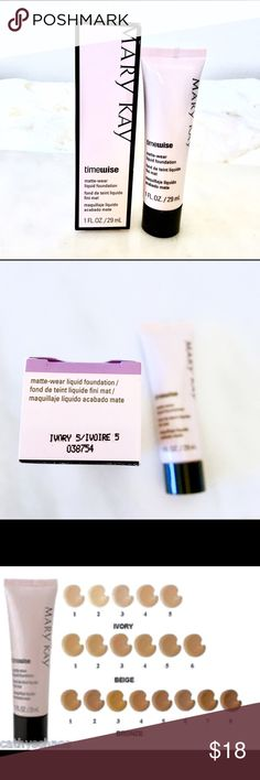 Mary Kay Timewise matte-wear liquid foundation Ivory 5. New, never used. Retails at $22. More on www.marykay.com/joan.harris 💕 Mary Kay Makeup Foundation
