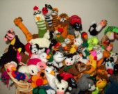 Ten Assorted Finger Puppets-Hand Knitted-Children's Party Pack-Super Value Unique Bracelets, Unique Jewelry, Finger Puppets, Party Packs, Childrens Party, Bowser, Cool Kids, Hand Knitting, Handmade Gifts