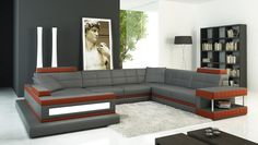 Divani Casa 5079 Grey and Dark Red Bonded Leather Sectional Sofa