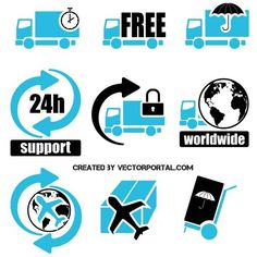 Shipping symbols and icons vector pack