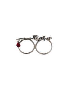 Alexander McQueen кольцо на два пальца