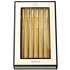 kate spade new york Pen Set - Strike Gold ($25) ❤ liked on Polyvore featuring home, home decor, office accessories, extra, filler, office, school supplies, pocket pen, gold pen and kate spade