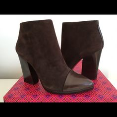"""TORY BURCH RIVINGTON BOOTIE IN BROWN SUEDE, SIZE 5 TORY BURCH RIVINGTON BOOTIE IN BROWN SUEDE, SIZE 5, POINTED TOE LEATHER, ZIP CLOSURES AT SIDES, HEIGH HEEL 4"""", BRAND NEW WITH BOX AND DUST BAG Tory Burch Shoes Ankle Boots & Booties"""