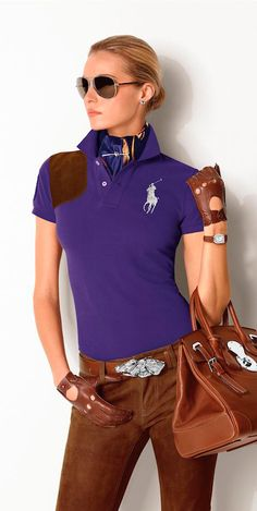 Golf Outfit S Women The Ralph Lauren Stirrup Collection captures the iconic equestrian heritage of Ralph Lauren design with a signature stirrup-shaped silhouette that is a bold expression of the designer's philosophy. Ralph Lauren Looks, Ralph Lauren Style, Ralph Lauren Collection, Polo Ralph Lauren, Fashion Week, Winter Fashion, Womens Fashion, Fashion Trends, Fashion Details