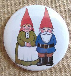 Gnome Couple, Pinback Button, Dog, Fantasy Art Original Illustration, Three Inch…