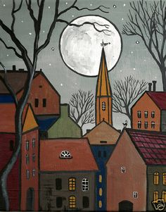 Print of painting 4x6 ryta houses abstract folk art black cat trees houses