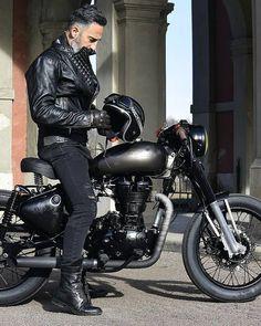 Stunning Black on Black Custom Royal Enfield motorcycle Bike! #foxtrotmoto #royalenfield #caferacer #motorcycle #garage