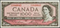 1954 $1000 Canadian Dollar bill Canadian Coins, Canadian Dollar, Thousand Dollars, One Million Dollars, Two Dollars, One Million Dollar Bill, Jamaican Dollar